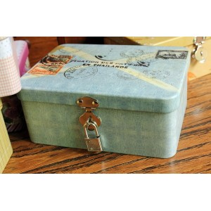 Colorful Letter Style Iron Box With Lock, Tin Storage Box, Jewelry Box