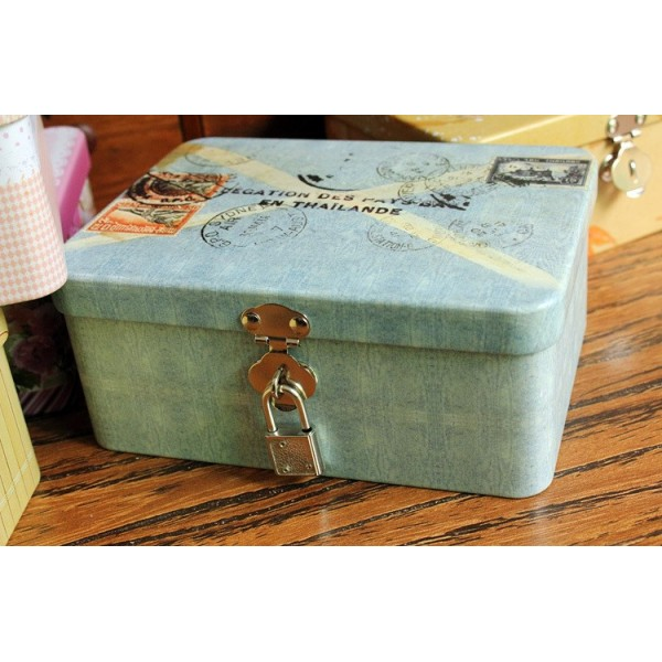 Exceptional Colorful Letter Style Iron Box With Lock, Tin Storage Box, Jewelry Box