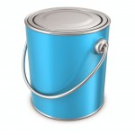 BLUE PAINT TIN CANS